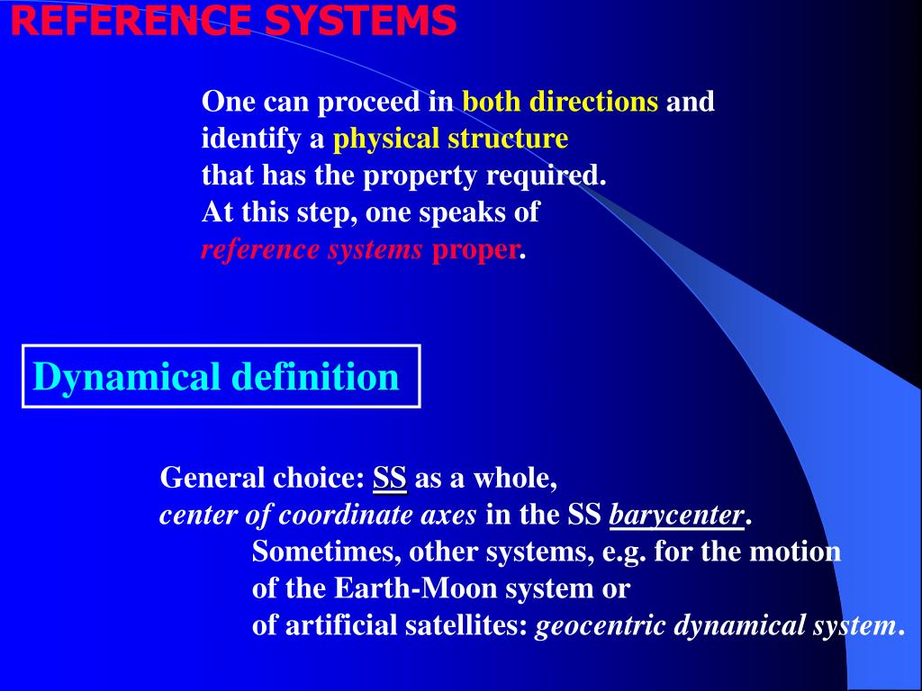 REFERENCE SYSTEMS