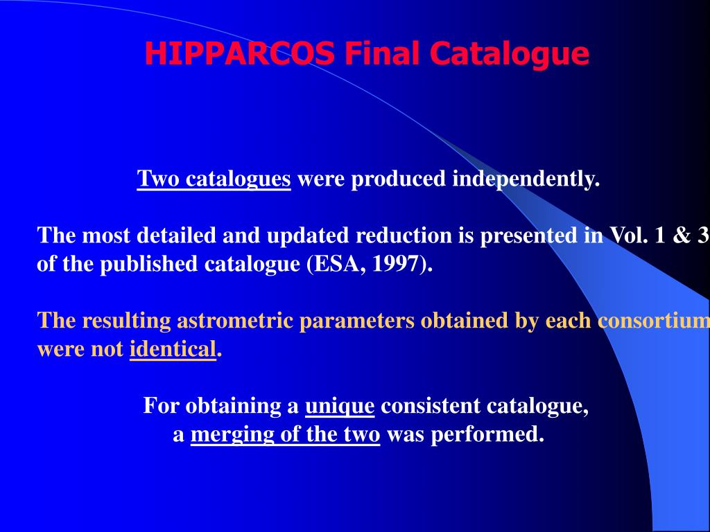 HIPPARCOS Final Catalogue