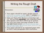writing the rough draft