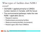 what types of facilities does n288 1 cover