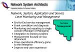 network system application and service level monitoring and management