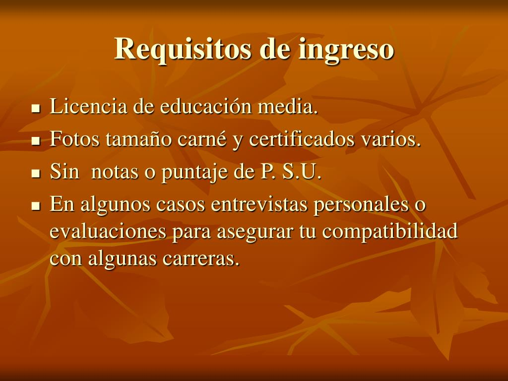 Requisitos de ingreso