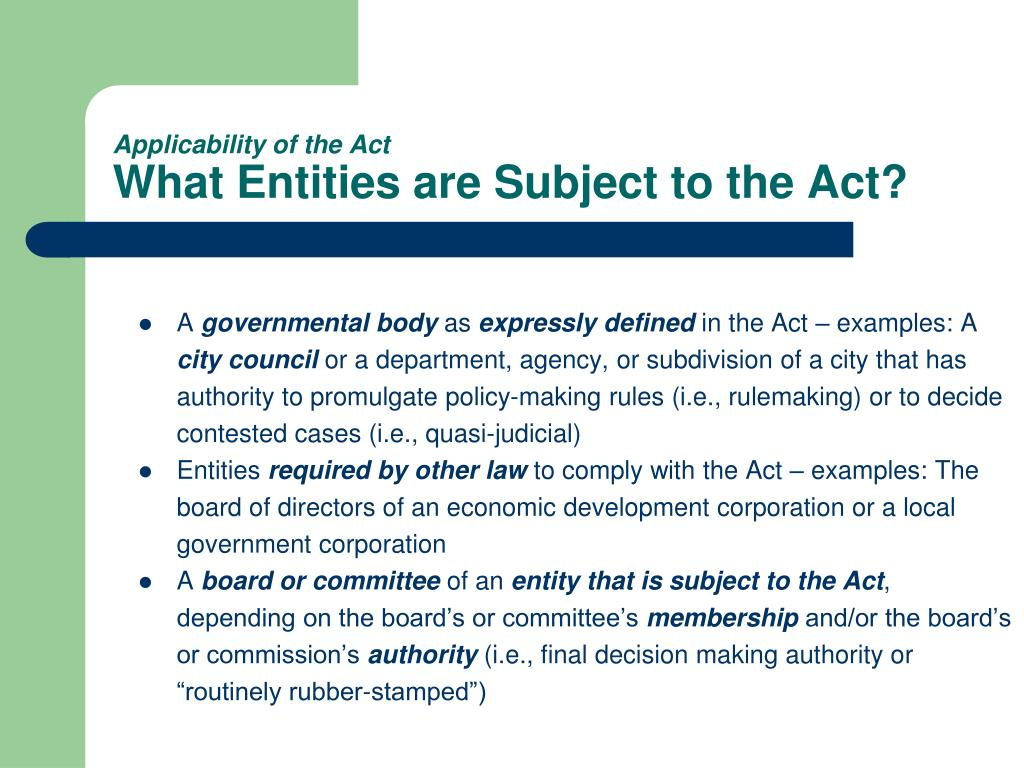 Applicability of the Act