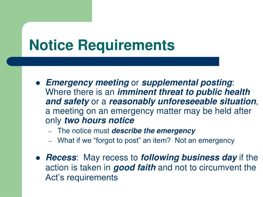 Notice Requirements
