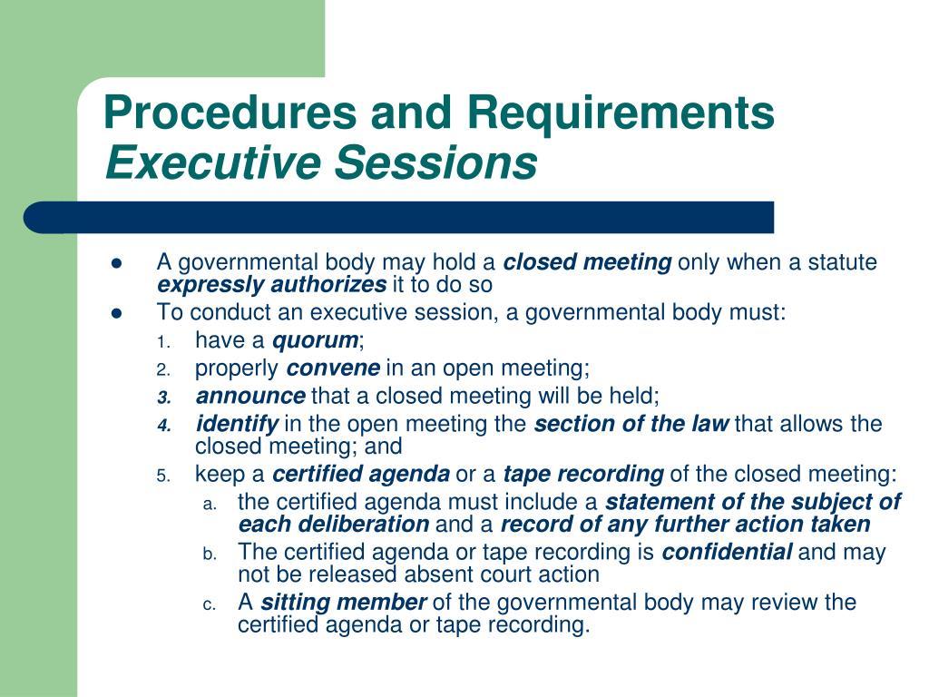 Procedures and Requirements