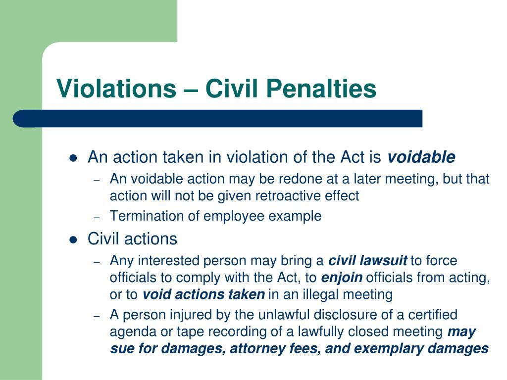 Violations – Civil Penalties