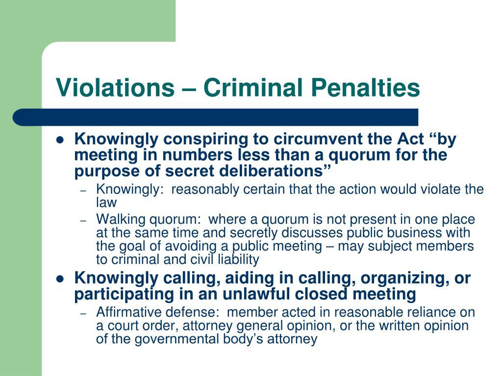 Violations – Criminal Penalties
