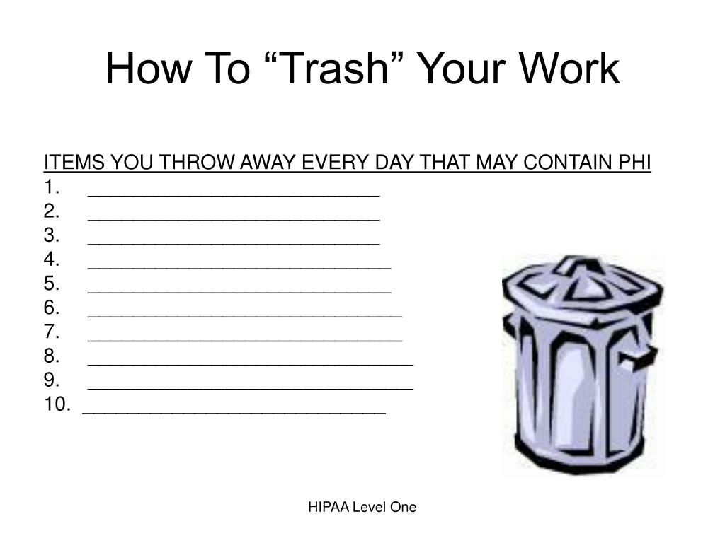 "How To ""Trash"" Your Work"