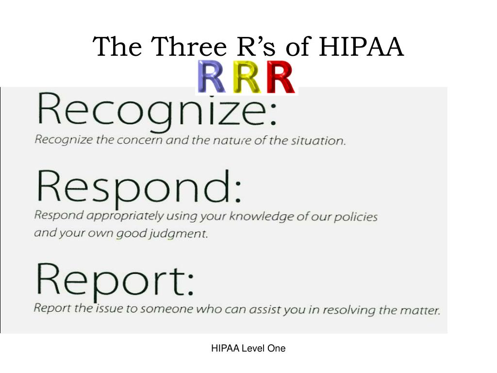 The Three R's of HIPAA