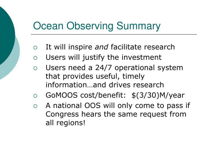 Ocean Observing Summary