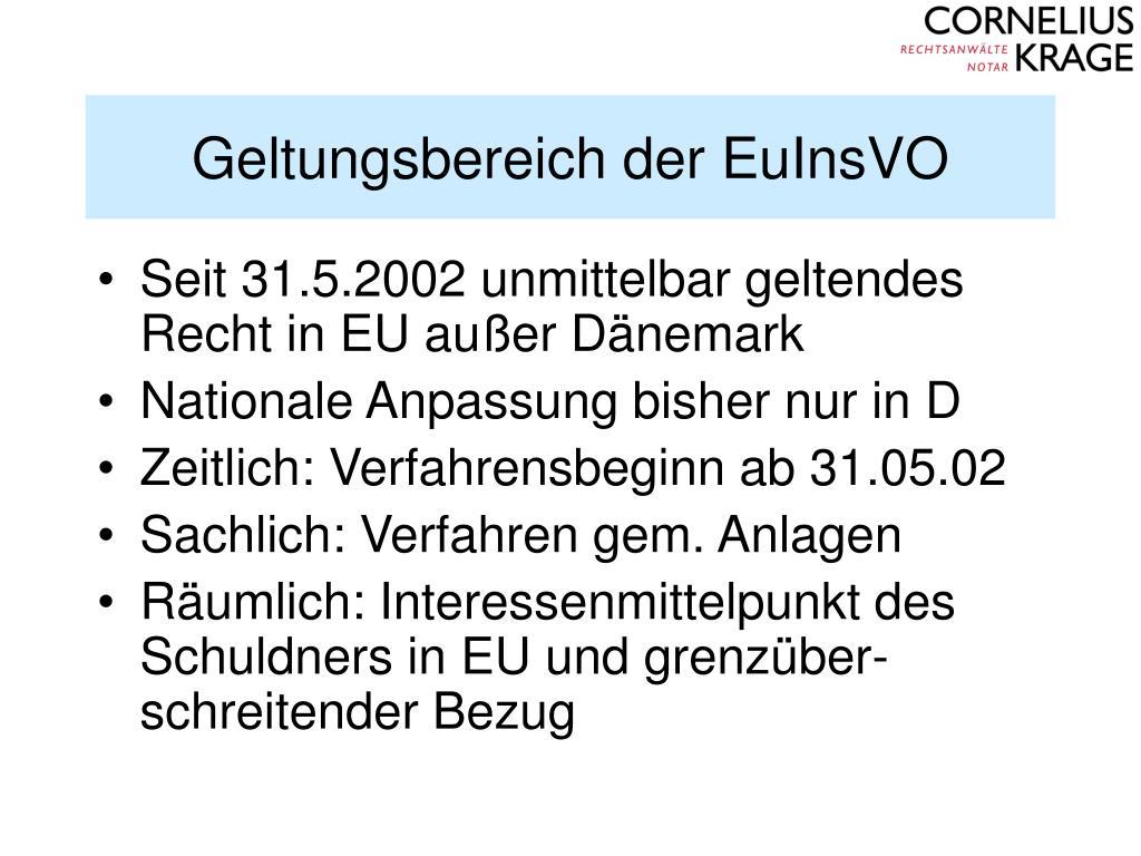 Geltungsbereich der EuInsVO