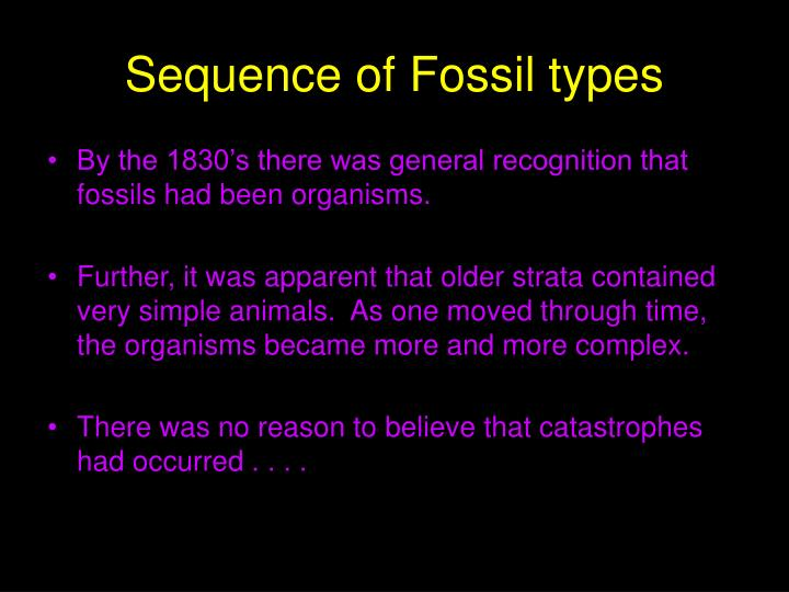 Sequence of Fossil types