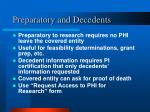 preparatory and decedents
