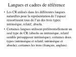 langues et cadres de r f rence