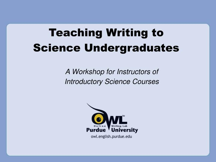 A workshop for instructors of introductory science courses