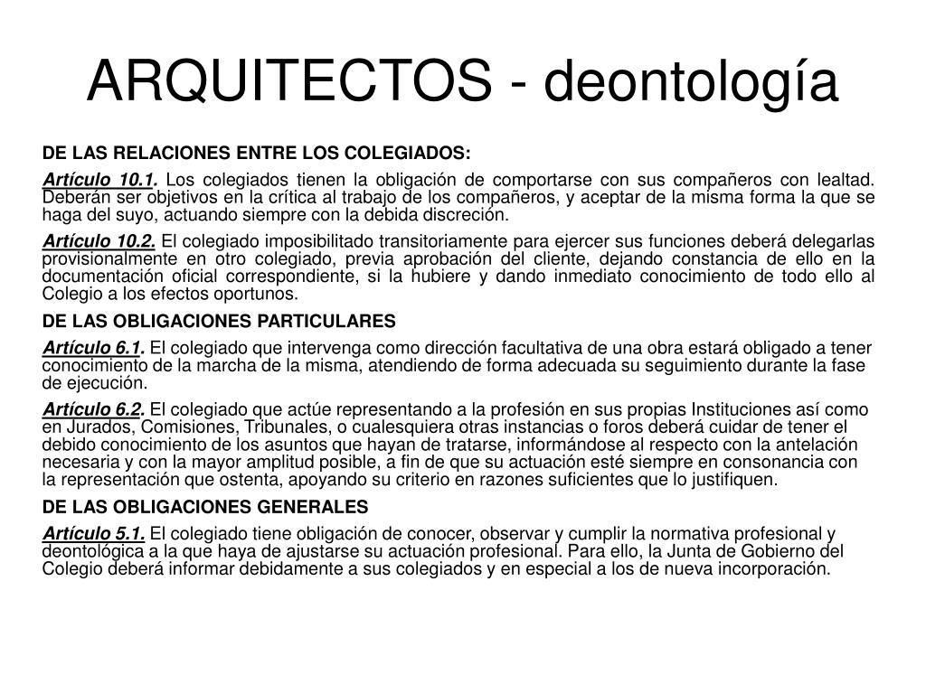 ARQUITECTOS - deontología
