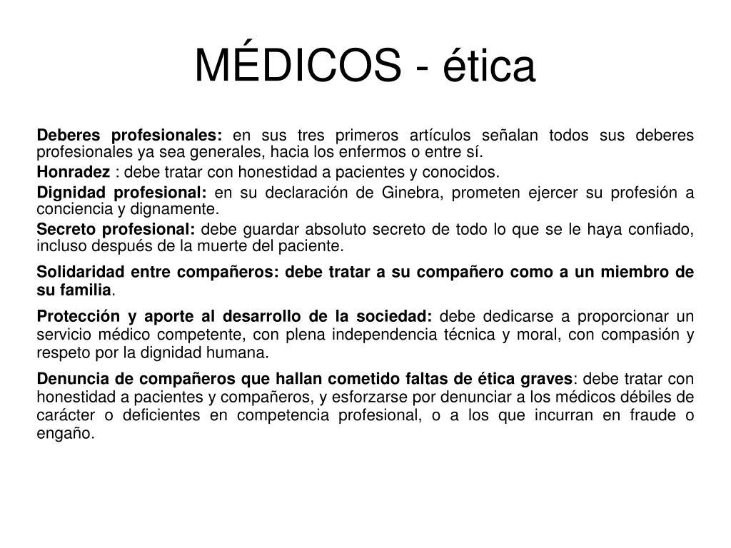MÉDICOS - ética