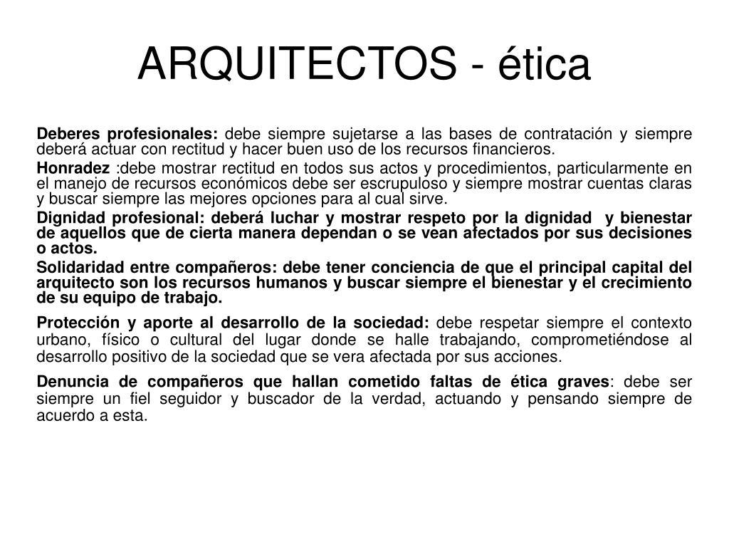 ARQUITECTOS - ética