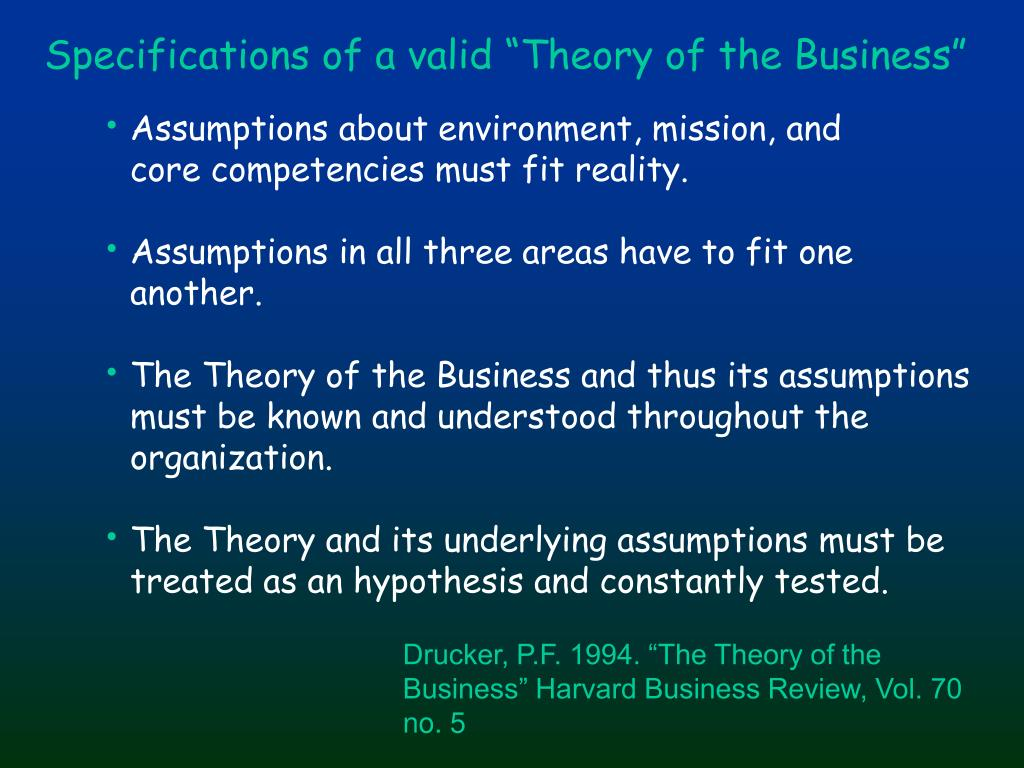 "Specifications of a valid ""Theory of the Business"""