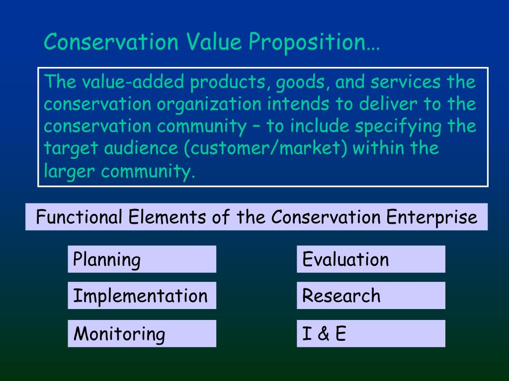 Conservation Value Proposition…