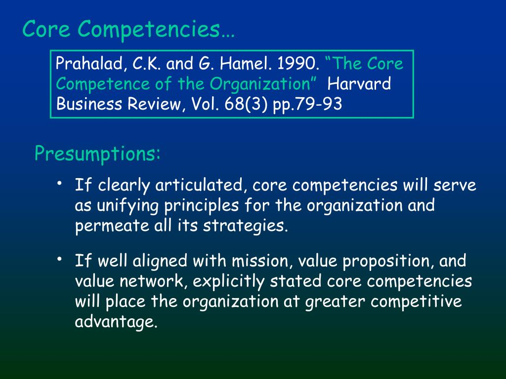 Core Competencies…