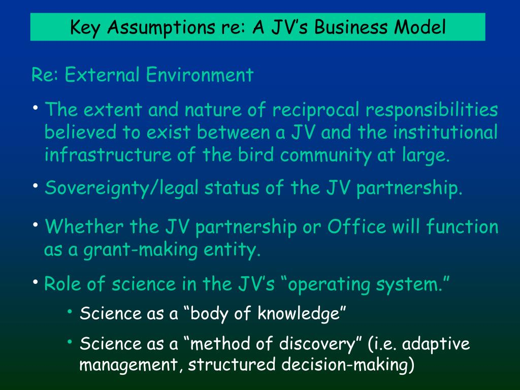 Key Assumptions re: A JV's Business Model