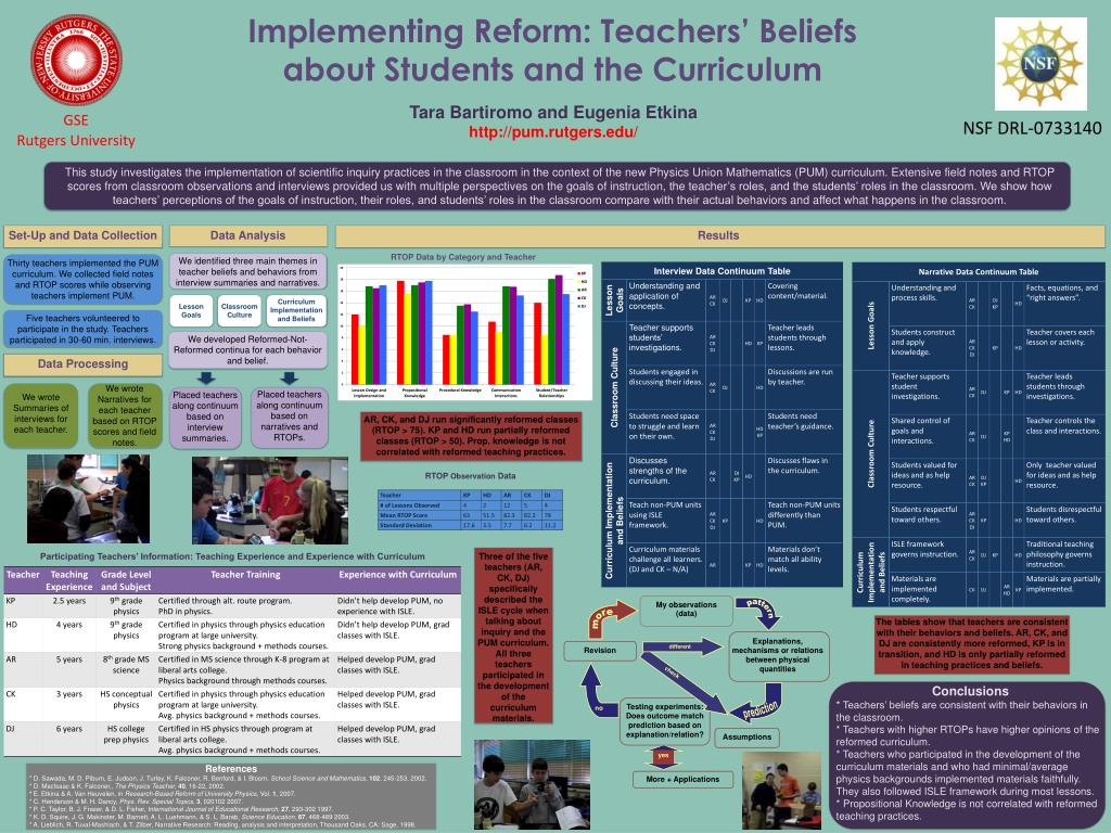 implementing reform teachers beliefs about students and the curriculum