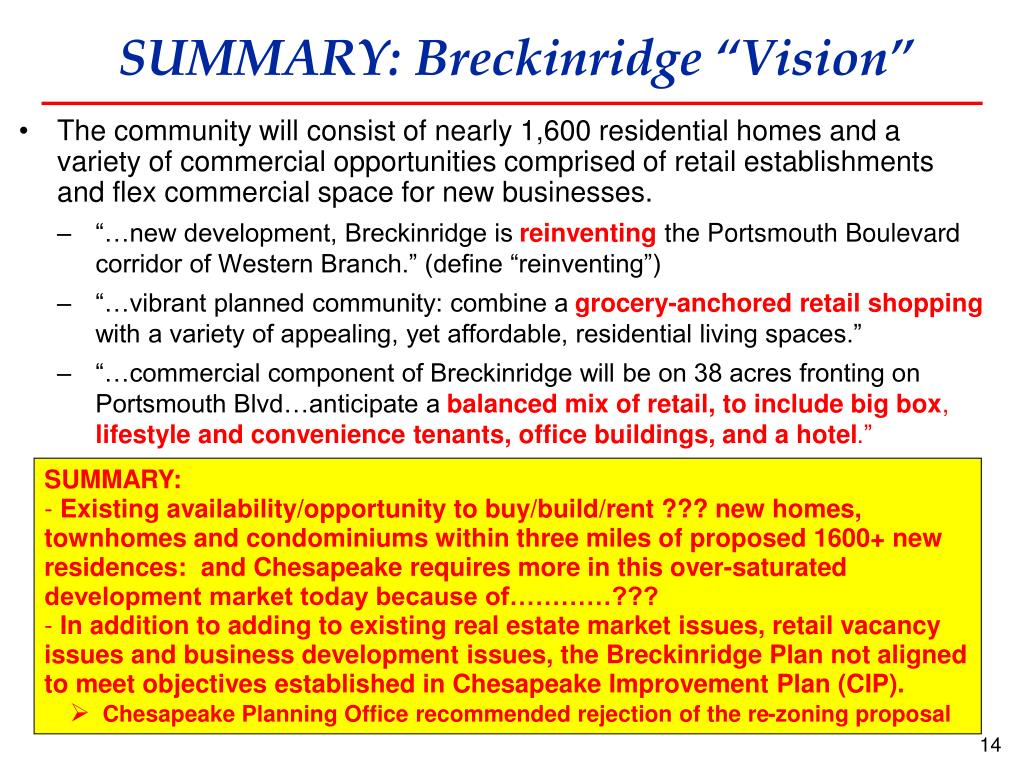 "SUMMARY: Breckinridge ""Vision"""