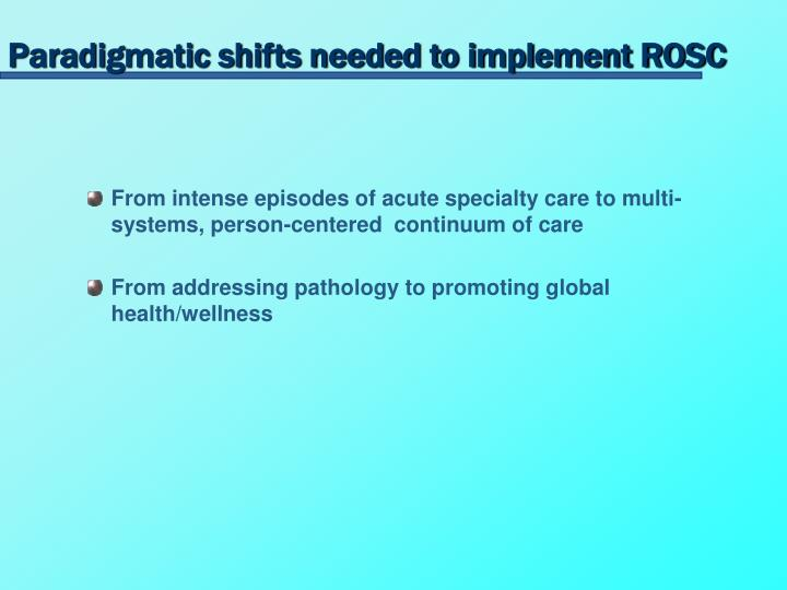 Paradigmatic shifts needed to implement ROSC