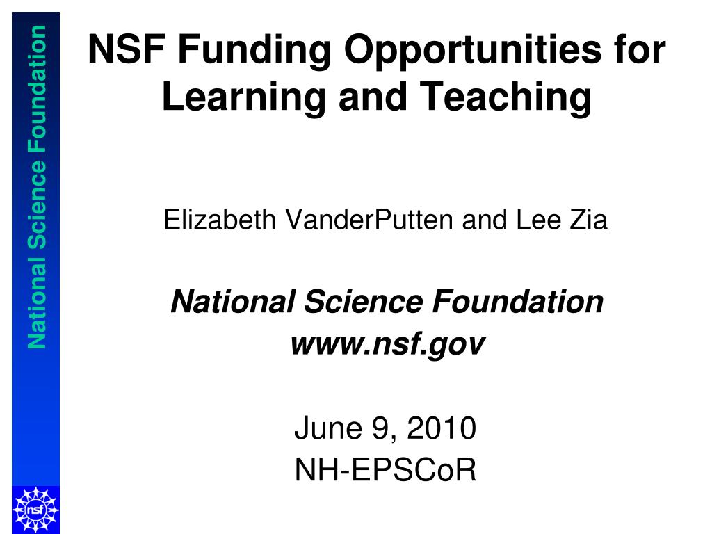 elizabeth vanderputten and lee zia national science foundation www nsf gov june 9 2010 nh epscor