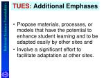 tues additional emphases
