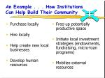 an example how institutions can help build their community