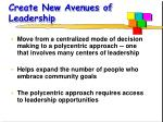 create new avenues of leadership