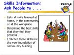 skills information ask people to