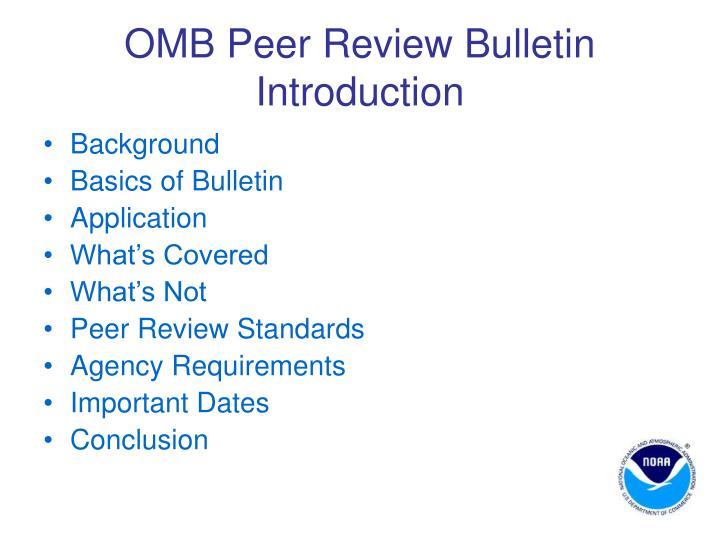 OMB Peer Review Bulletin Introduction