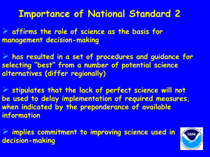 Importance of National Standard 2