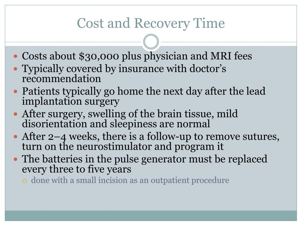 Cost and Recovery Time