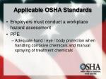 applicable osha standards
