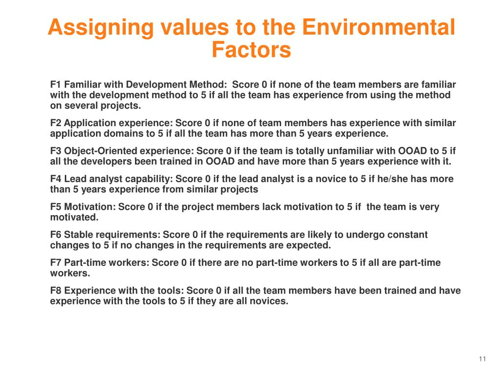 Assigning values to the Environmental Factors