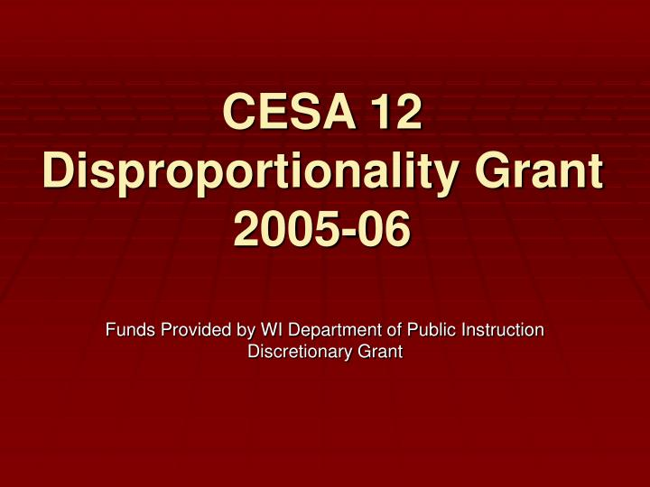 Cesa 12 disproportionality grant 2005 06 l.jpg