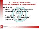 2 2 dimensions of culture are there differences to hall s dimensions