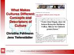 what makes cultures different concepts and descriptors of culture