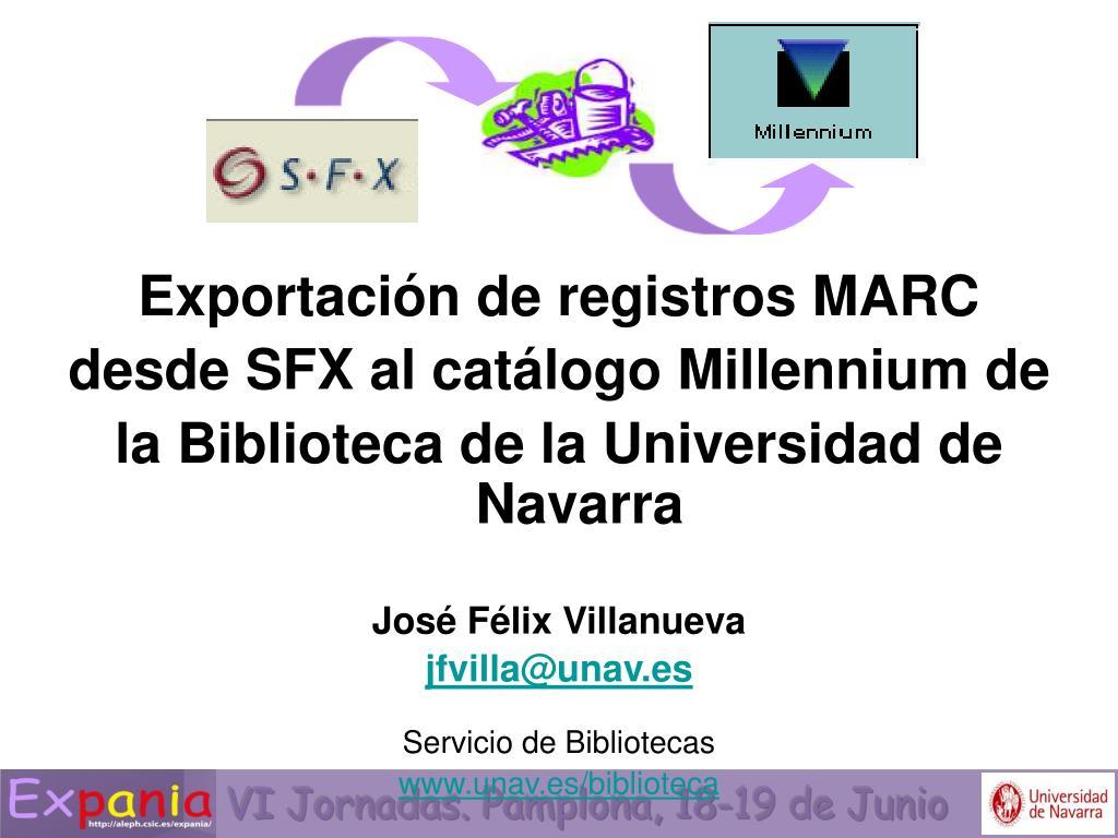 Exportación de registros MARC