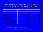 selected diseases where survival is related to race for women nlms 1979 1985