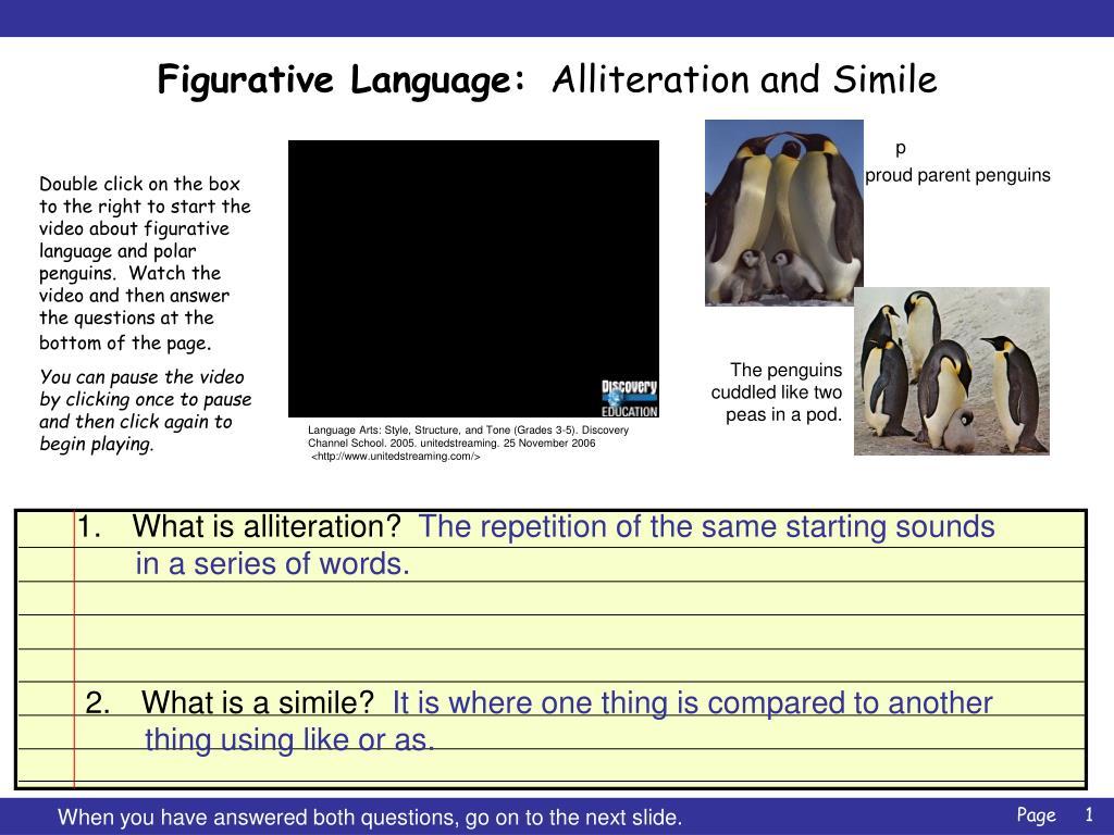 figurative language alliteration and simile