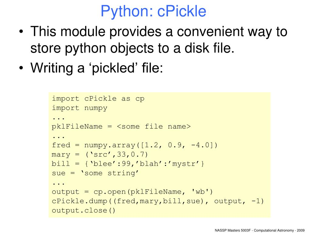 Python: cPickle