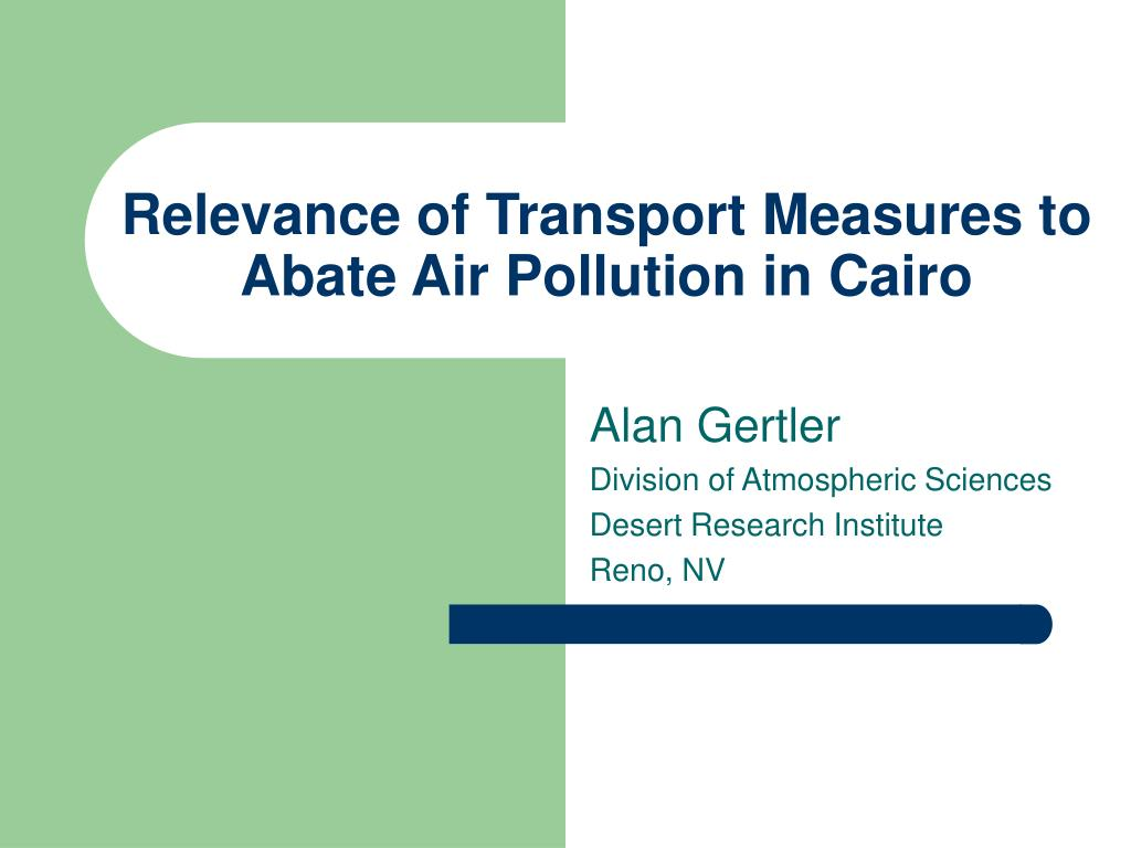 relevance of transport measures to abate air pollution in cairo