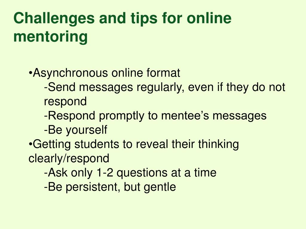 Challenges and tips for online mentoring