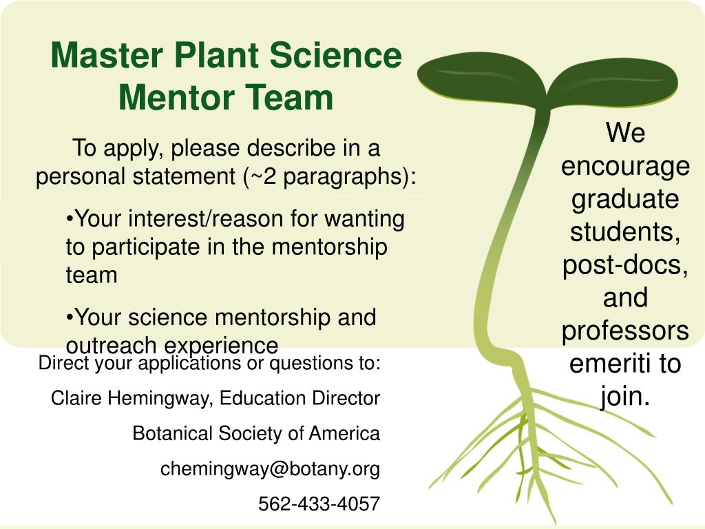 Master Plant Science Mentor Team