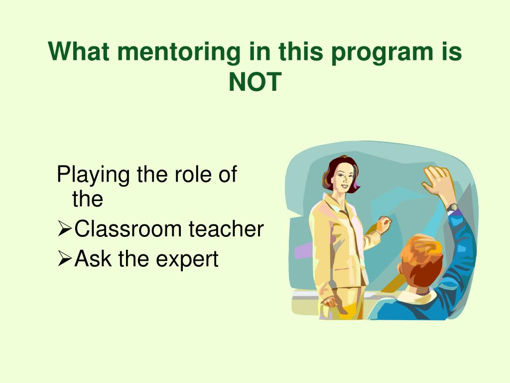 What mentoring in this program is NOT